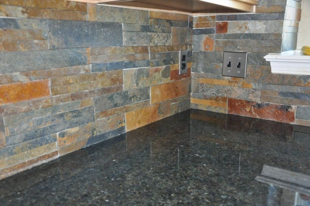Here S A Beautiful Slate Tile Backsplash That Compliments The Dark Cabinets And Granite Countertop Description From Backsplashphotos