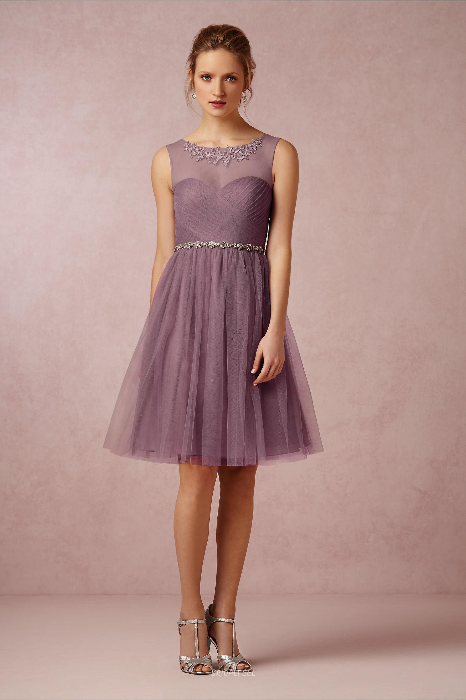Unique A-line Illusion Neck Short Knee Length Tulle Bridesmaid Dress ...
