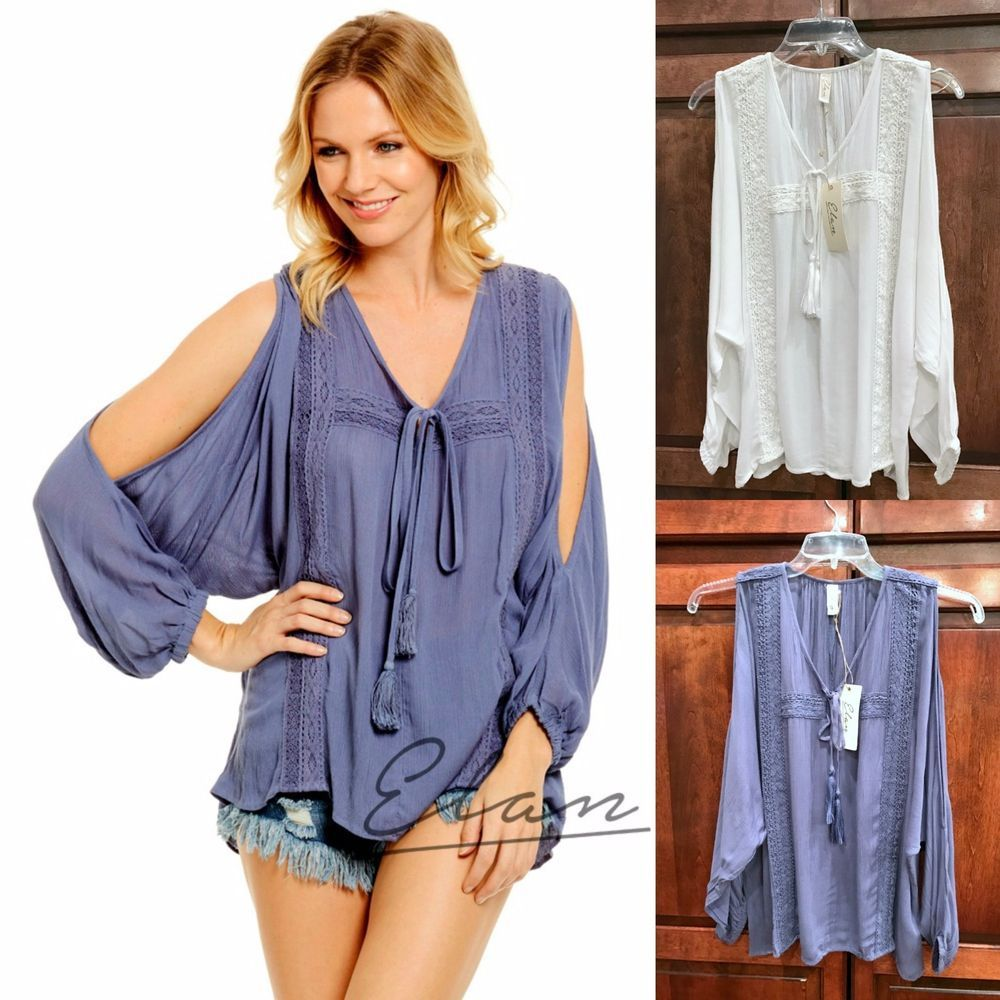 74ac0e5f736cd7 ELAN USA Boho FRIDA Cold Shoulder Tassel Tie Long Flowy Sleeve Crochet  Tunic S-L  Elan  TunicPeasantBlouse  Casual