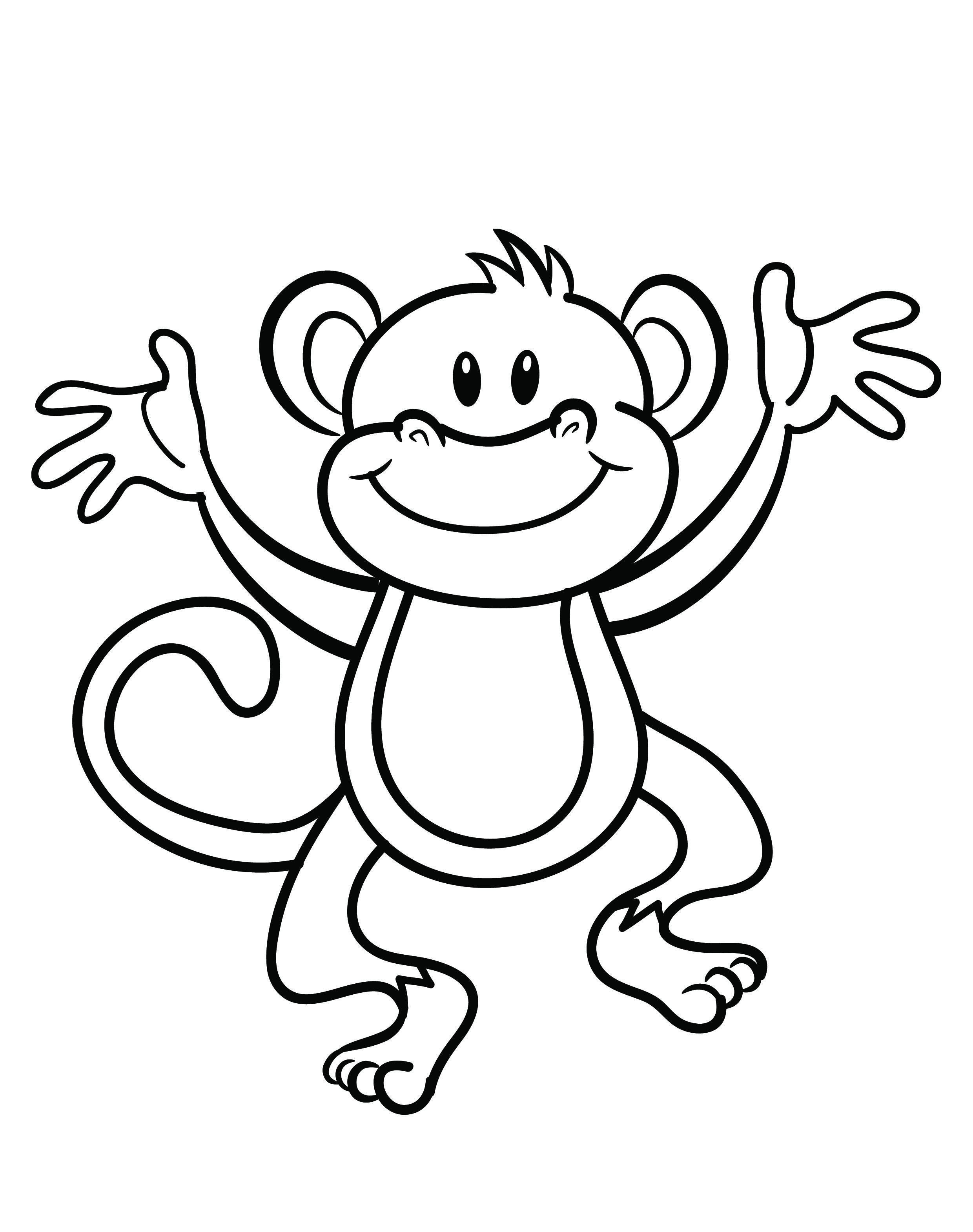 Free printable monkey coloring page | cj 1st birthday | Monkey ...