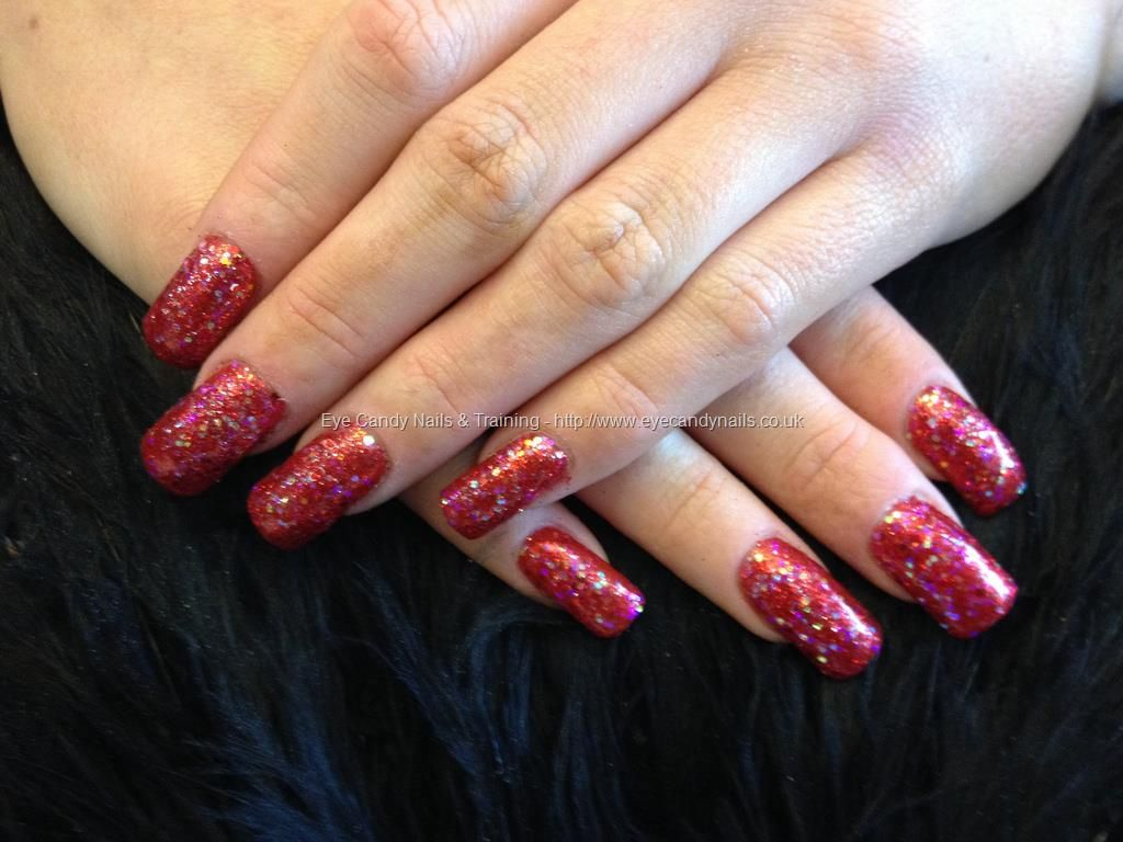 Acrylic Nails With Red Glitter Dust