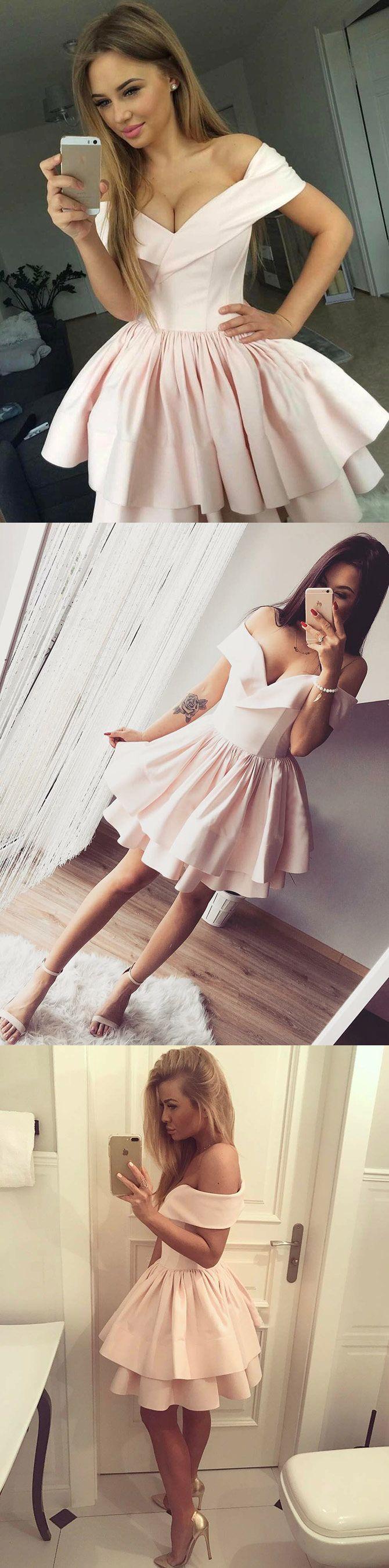 Aline offtheshoulder aboveknee pink tiered homecoming dress in