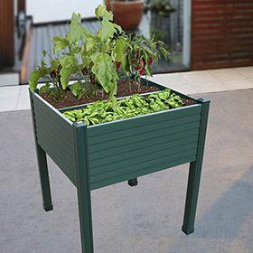 Mesa de huerto de pvc verde 2 compartimentos mesas de for Semillas leroy merlin