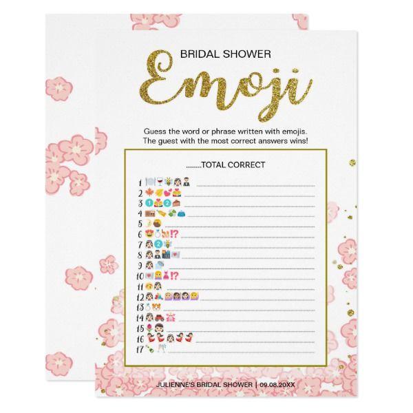 Bridal Shower Emoji Dictionary Game Gold Pink In 2018 Emoji