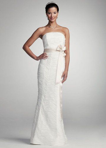 David's Bridal Wedding Dress: Strapless Ruched Mermaid Gown with ...