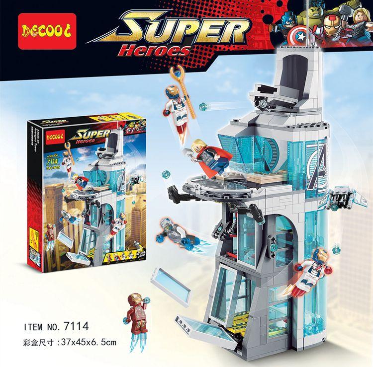 511Pcs Star wars Marvel Super Hero Iron Man Attack On Avenger Tower Model