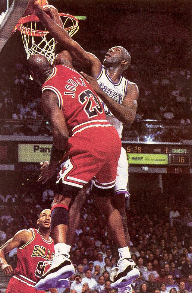 Michael Jordan Dunks On Olden Polynice Of The Sacramento Kings
