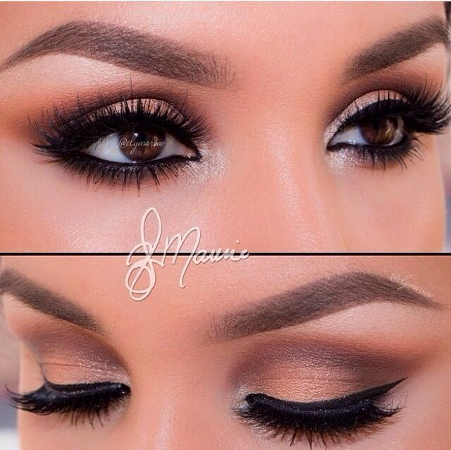 Neutral toned eyes and winged eye liner, so pretty for my brown ...