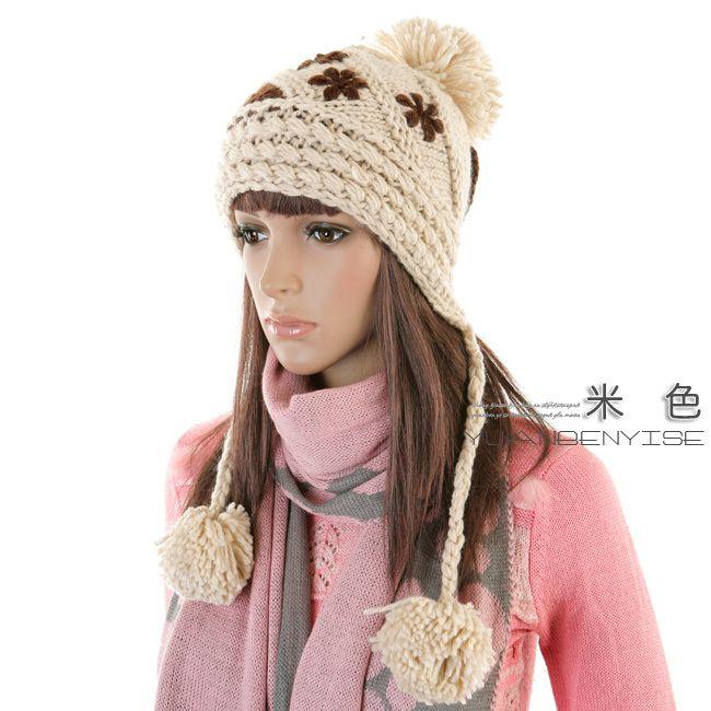 Gorros de punto con pompones para mujeres-Sombreros Invierno ... 07ae9205a2a