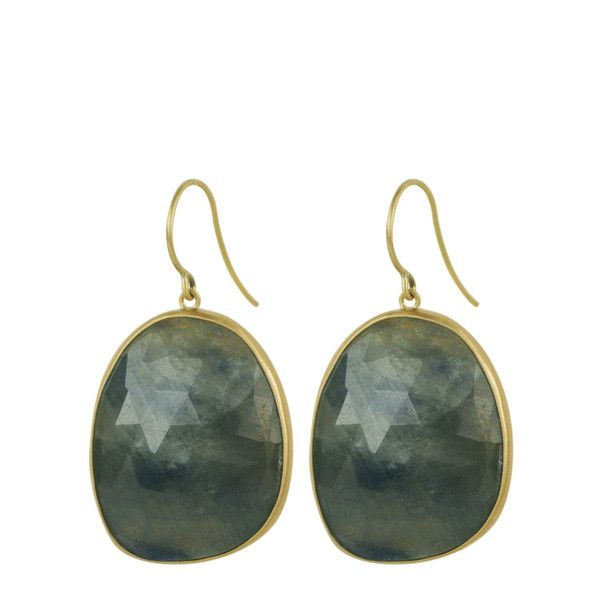 Me&Ro 18K Gold Green Blue Sapphire Earrings