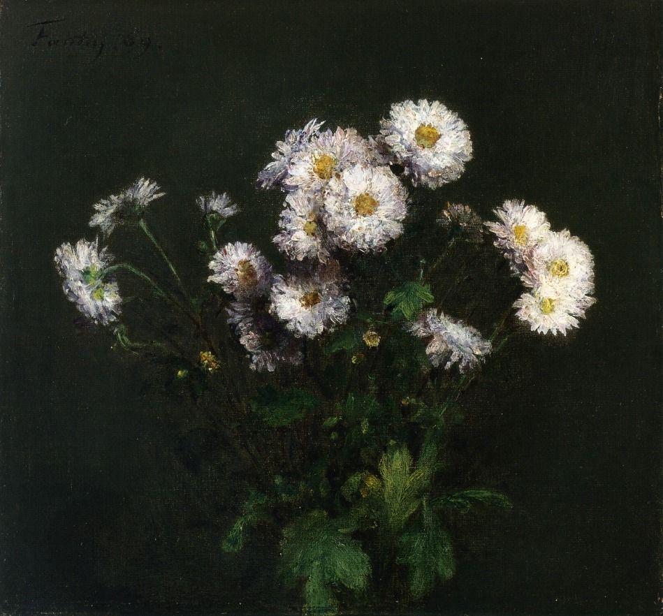 Bouquet of White Chrysanthemums Henri FantinLatour Monde des