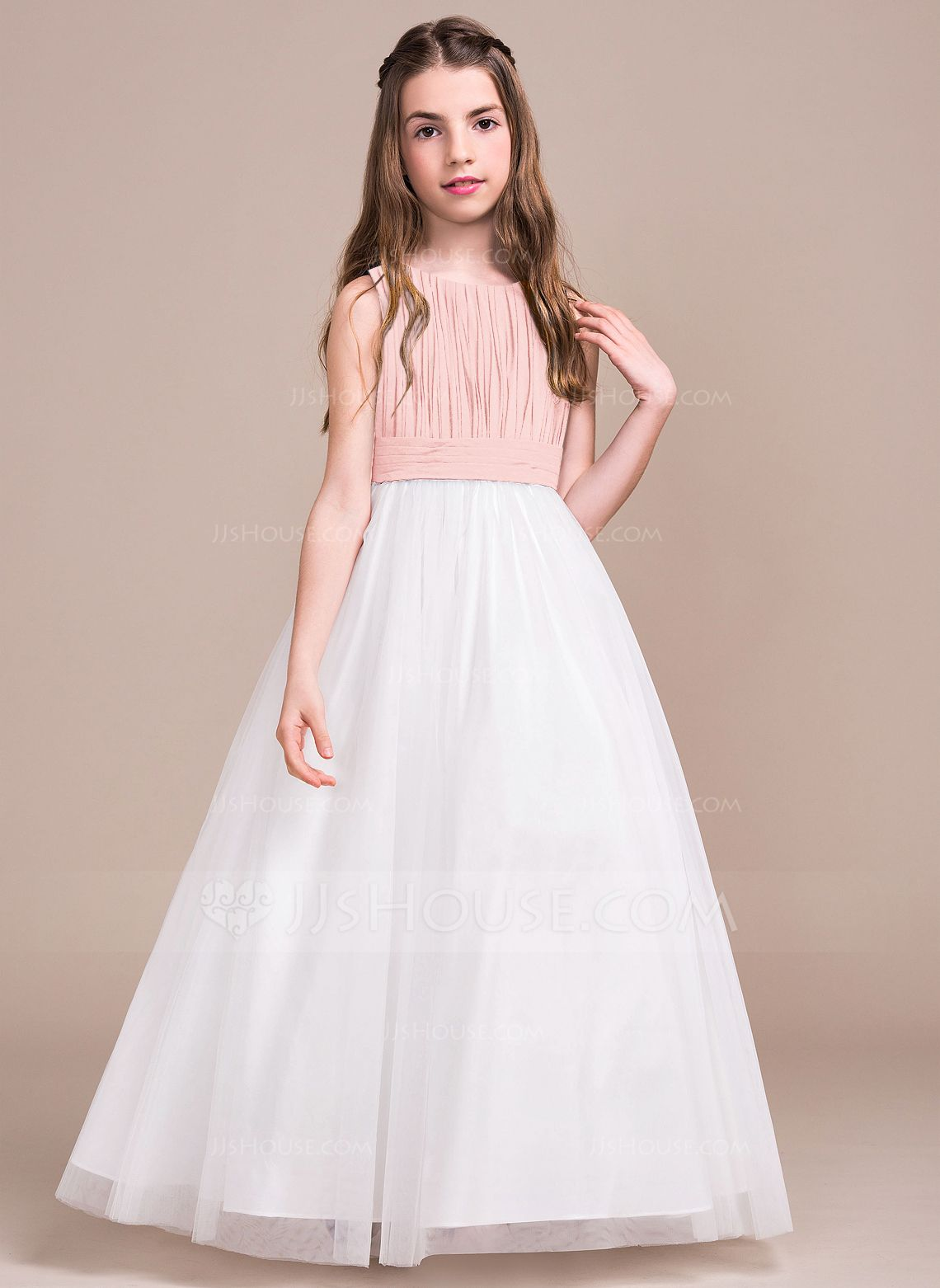 3228be2b9eb A-Line Princess Scoop Neck Floor-Length Ruffle Zipper Up Regular Straps  Sleeveless No Dark Navy General Chiffon Tulle Junior Bridesmaid Dress