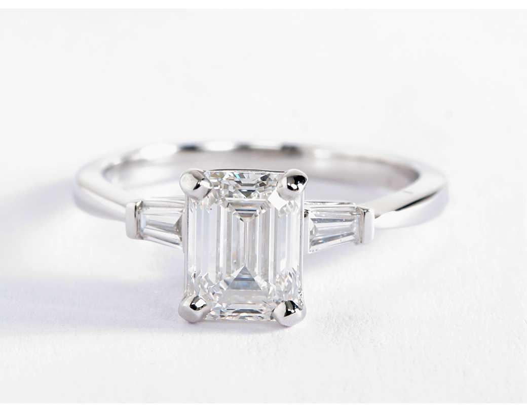 moissanite baguette center rings products img engagement setting maxine diamond tapered ring