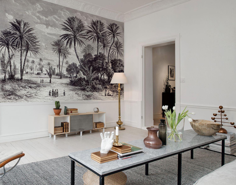 le d cor panoramique oasis en noir et blanc de la collection volume 2 d 39 au fil des couleurs. Black Bedroom Furniture Sets. Home Design Ideas