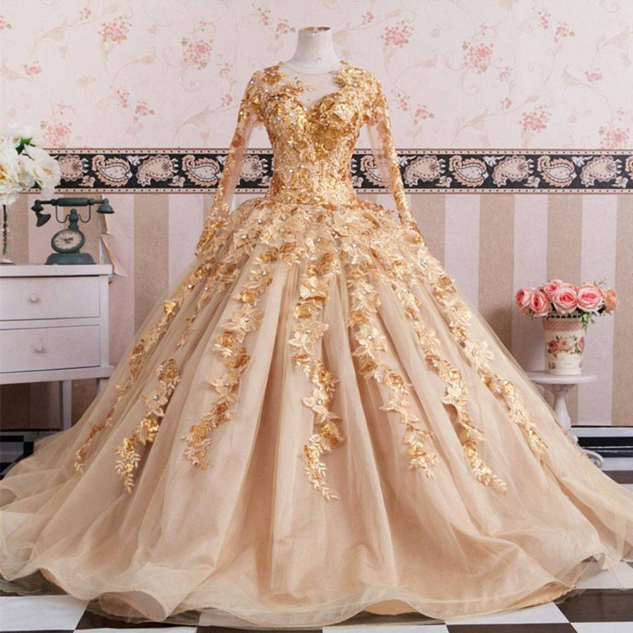 Gold long sleeves wedding dresses ball gowns lace embroidery