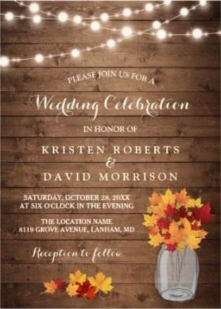 String Lights And Rust Flowers On A Wood Like Background Rustic Wedding Invite