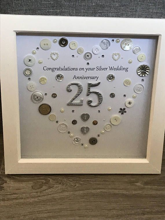 Silver Wedding Anniversary Button Art Gift Handmade Heart Gift