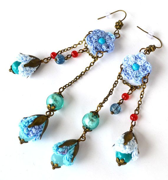 long blue ombre earringsquirky blue flowers by Marmotescu on Etsy