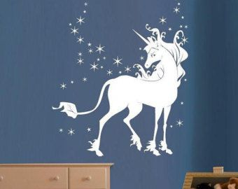 Pack of 22 Wall Art Stickers Peel/&Stick Decals Colourful Unicorns with Stars