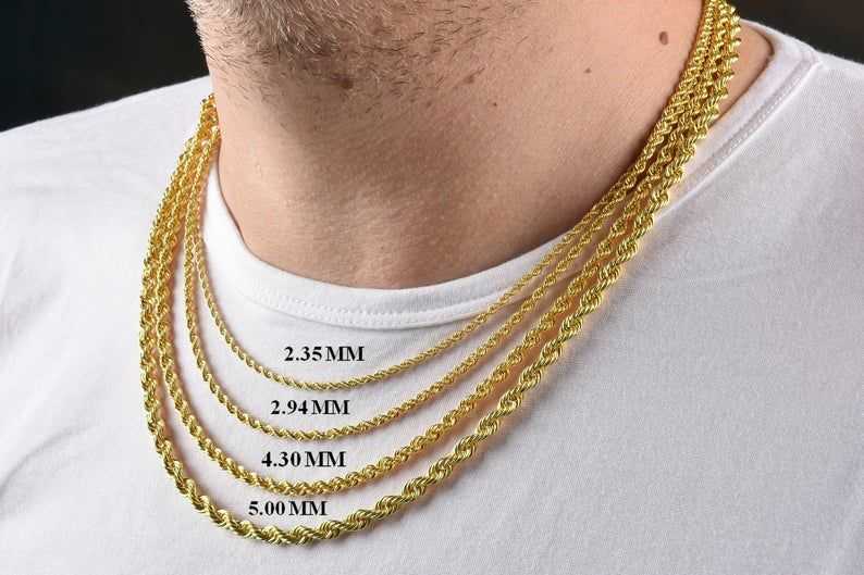 1b376cc8b1c46 Solid 14K Gold Rope Chain Necklace, 14K Gold Men Chain, Hollow Rope ...
