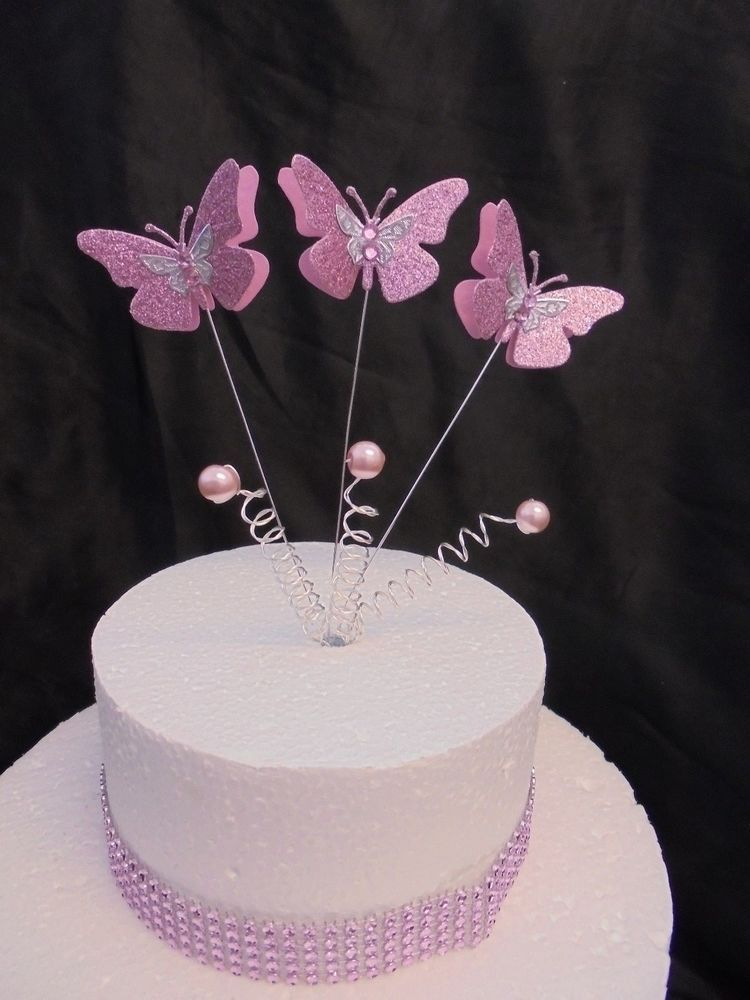 Princess Pink Butterfly Pearl Trim Birthday Cake Topper Butterfly