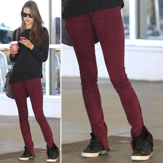 Alessandra Ambrosio Wearing Dark Red Skinny Jeans - waaaaant ...