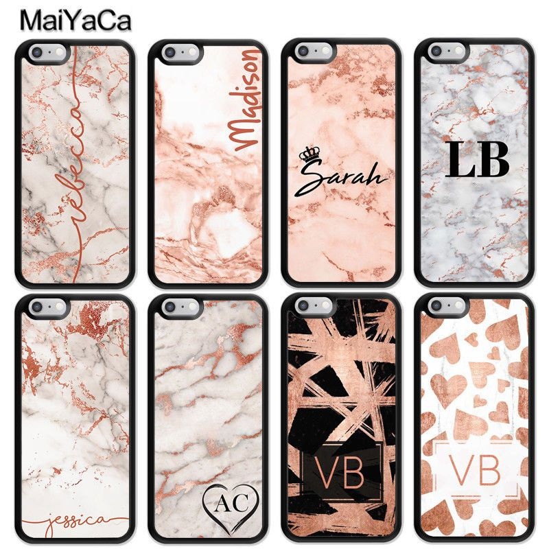 Personalised initials Name Custom Marble initial Phone Case Cover