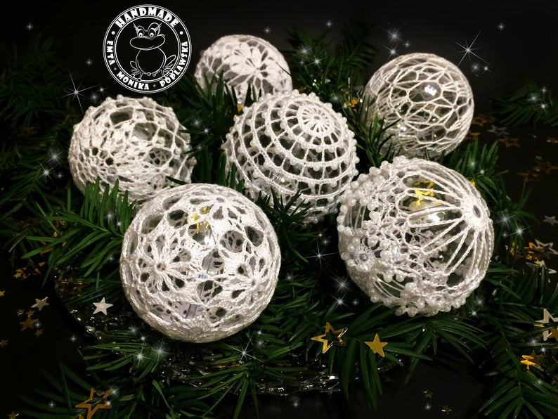 Set Of 6 Christmas Balls Ornament White Crochet Baubles Christmas Tree Decorations Xmas Balls Gift For Family Lace Decor Christmas Baubles