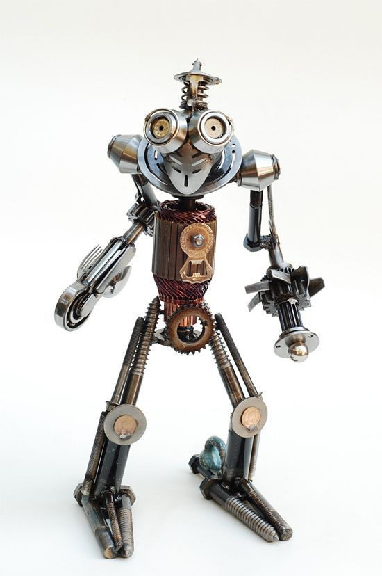 Recycled Metal Sculptures by Brian Mock. My, he has a piercing stare :))