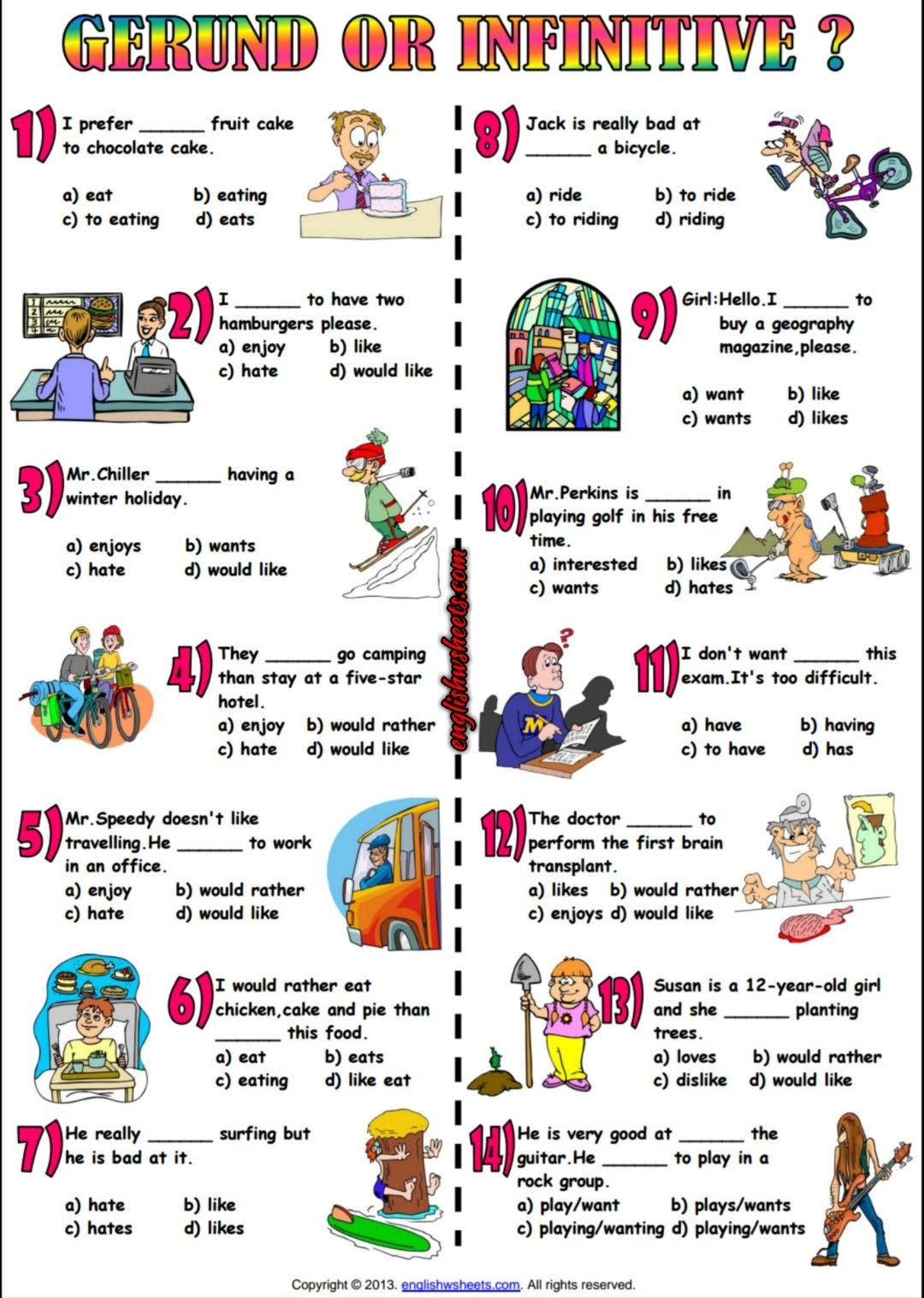 Gerund Or Infinitive Multiple Choice ESL Worksheet   English teaching  materials [ 1516 x 1080 Pixel ]