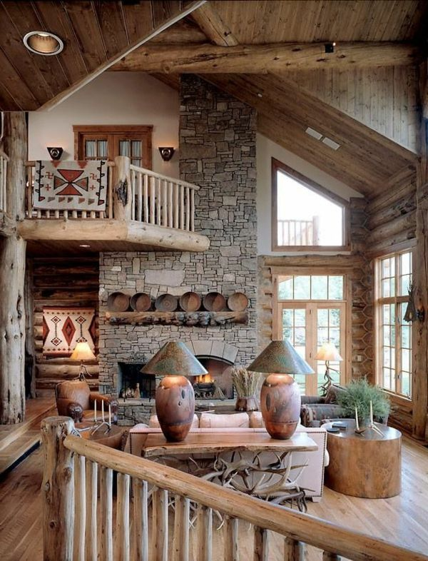 wohnzimmer-rustikal-aus-holz-gemacht | einrichtungsideen | pinterest, Deko ideen