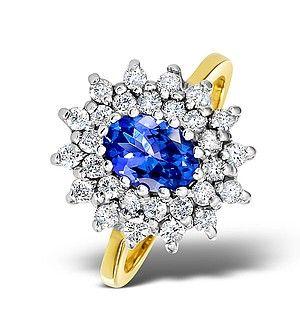 Tanzanite 7 x 5mm And 0.56ct Diamond 18K Gold Ring - Item FET36-V.  #tanzanitering #engagementring #engagement #ring #diamondstoreuk #yellowgold #tanzanite