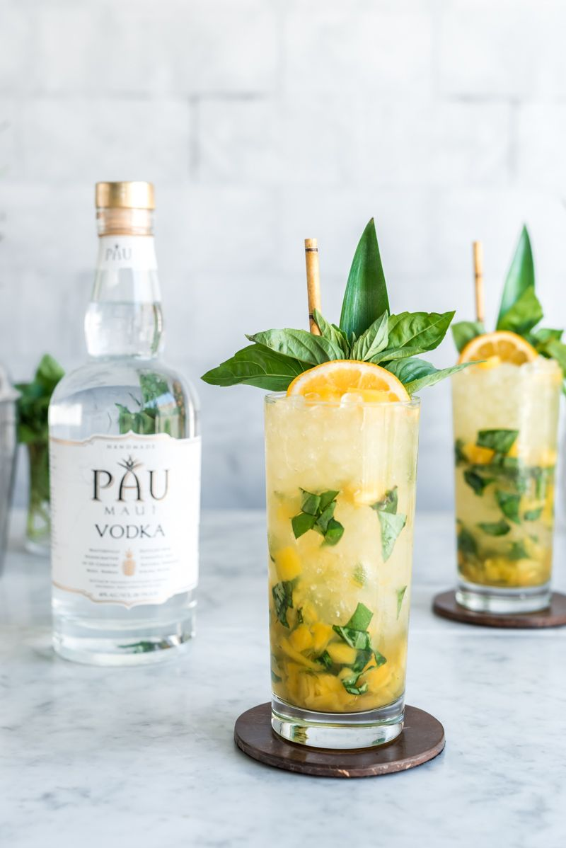 Vodka Pineapple Basil Smash Cocktail - Pineapple and Coconut #simplecocktail