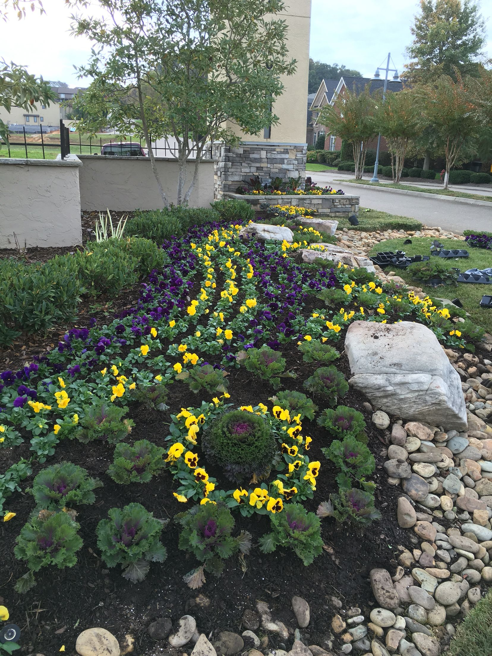Fall landscaping , front entrance to a subdivision ...