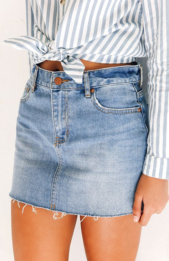 20  Denim Skirts Outfits Summer Casual | Denim skirt outfits ...
