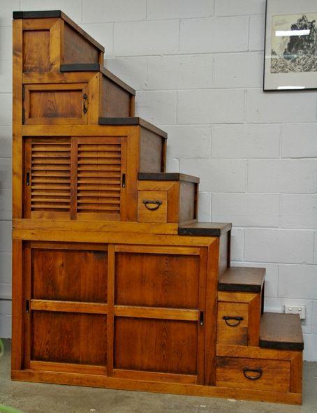 Japanese Antique Staircase or Step Chests - Tansu or Kaidan dansu - Japanese Furniture Genuine Japanese Furniture, Fabrics, Interior