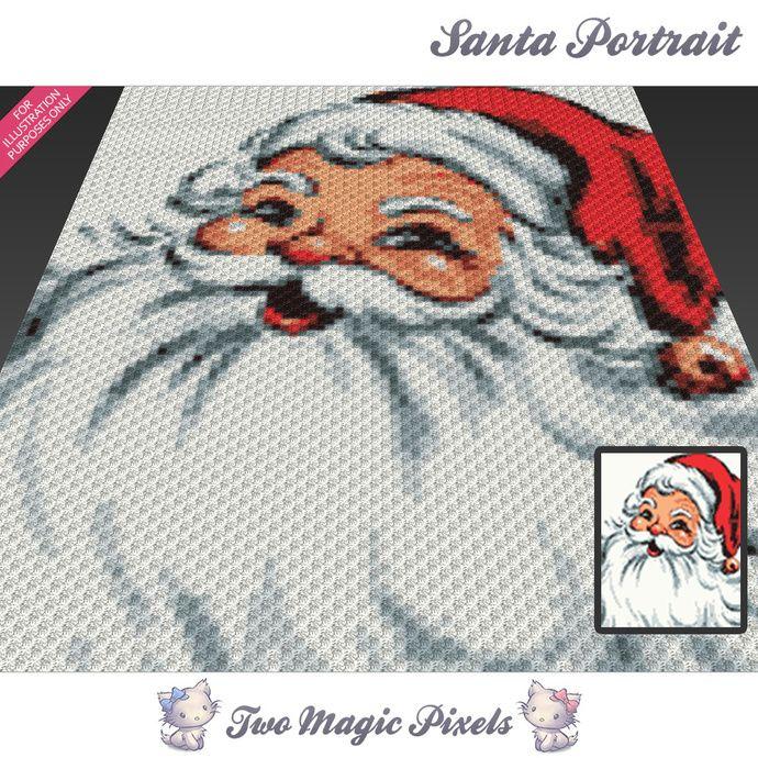 Santa Portrait crochet blanket pattern; knitting, cross stitch graph ...