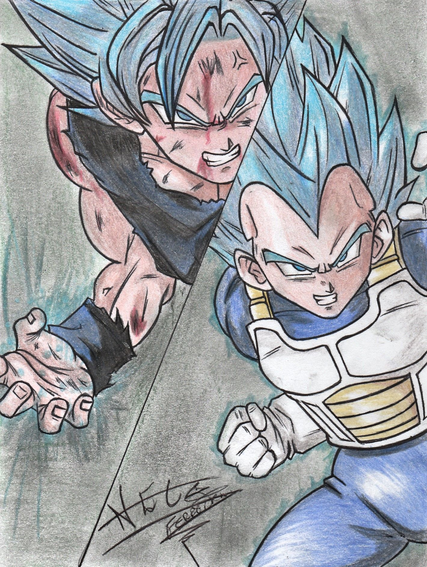 Speed Drawing  -  Goku and Vegeta (Dragon Ball Super)