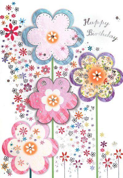 Birthday Card Birthday Flowers Nina Trabajo Pinterest