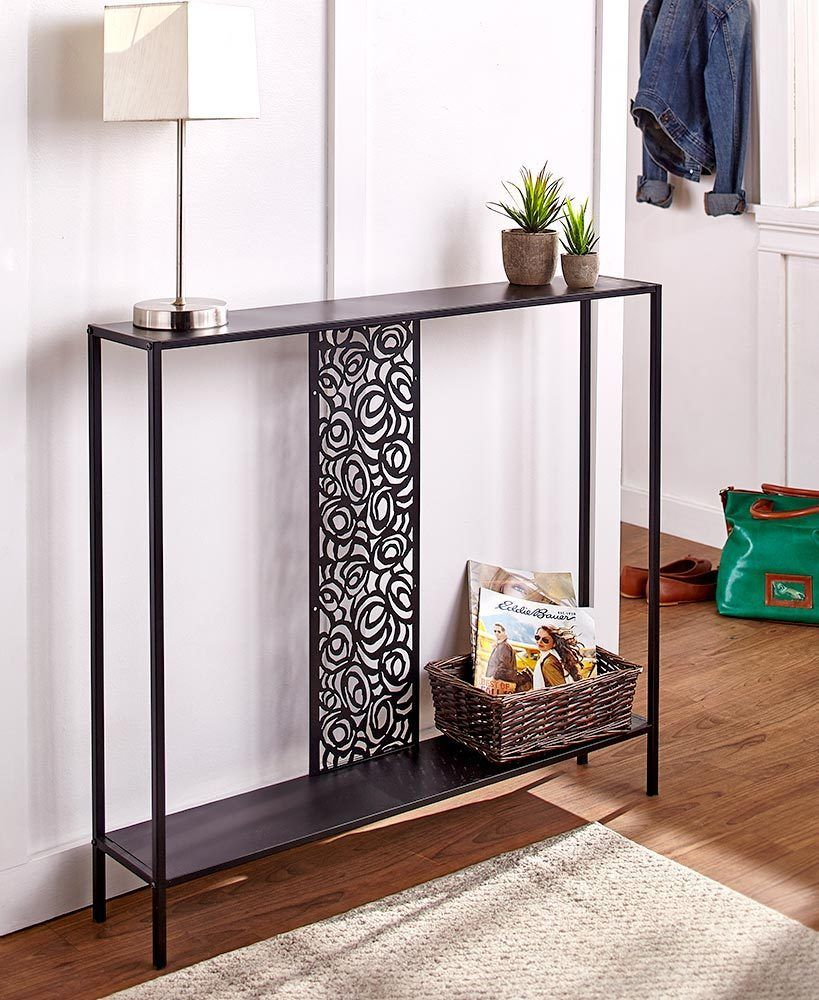 Metal Console Table Slim Black Living Room Entry Way Scrolled