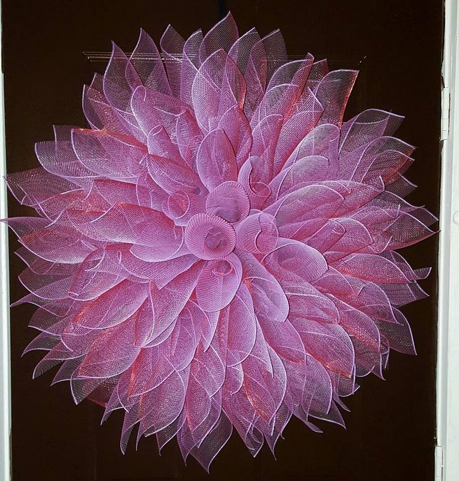 Dahlia Mesh Wreath Pink Dahlia Purple Dahlia by TriciasTreasures11  Hochzeit  Deko