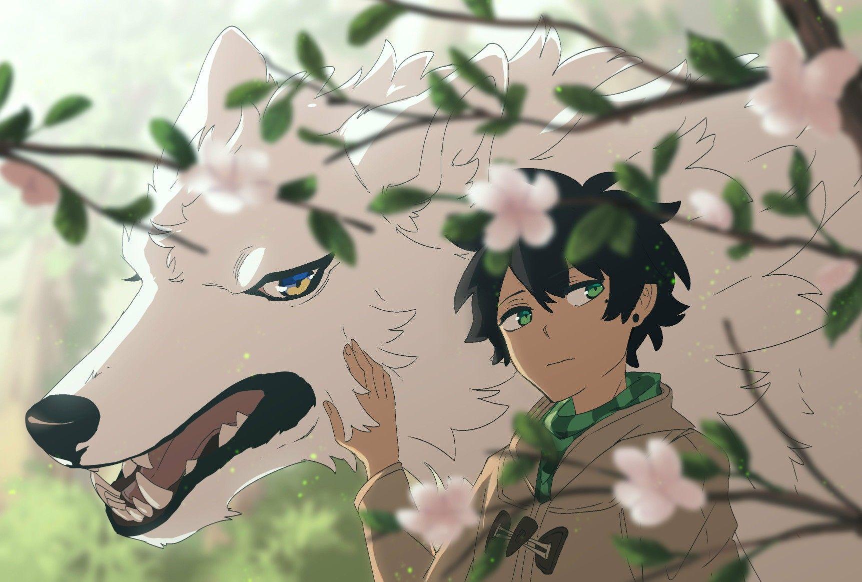 Lumine Wolf And Kody With Cherry Blossoms Lumine Webtoon Anime