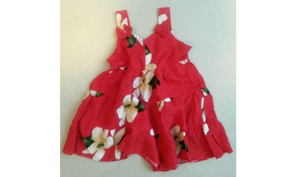 Detské šaty Flowers  červené - 2-3 roky