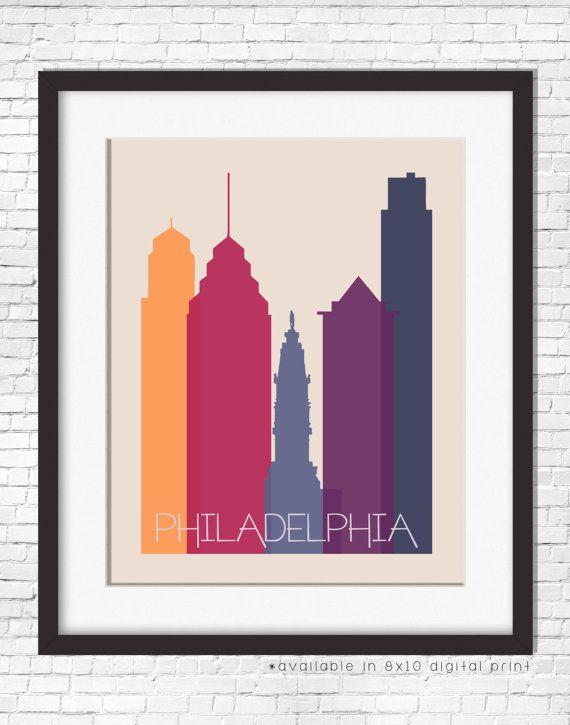 Philadelphia Skyline Philadelphia Wall Art Dorm Decor Etsy Philadelphia Wall Art City Prints Wall Art