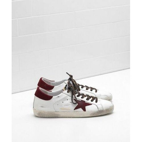 promo code c88c3 62b75 2017 Golden Goose Super Star Chaussures GGDB Homme Sneakers Vin Blanc Rouge