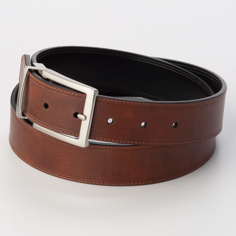 Men's Croft & Barrow® Soft Touch Stitched Reversible Belt, Size: 42, Brown