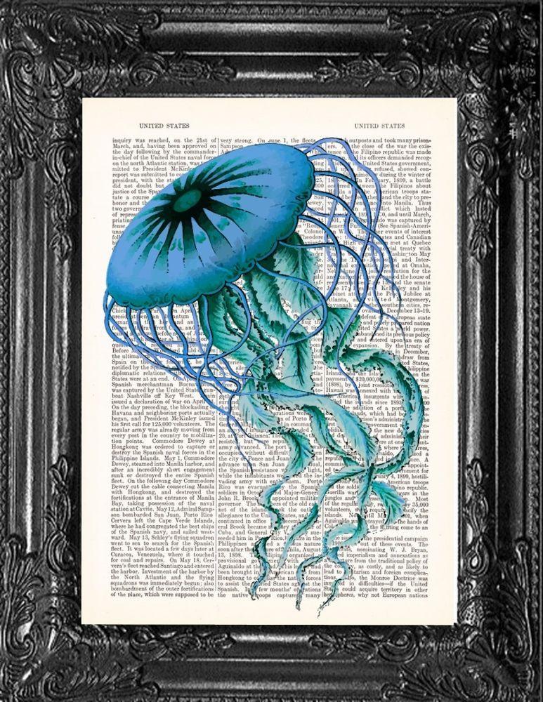 Jellyfish Wall Art Dictionary Blue Haeckel Print Vintage