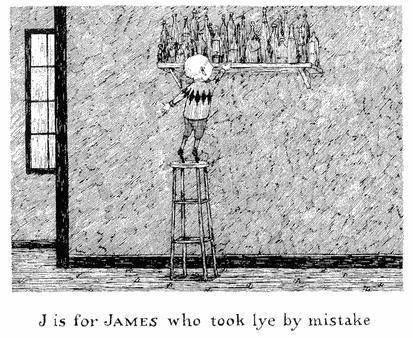 Edward Gorey illustration J IS FOR JAMES Gashlycrumb Tinies macabre art print