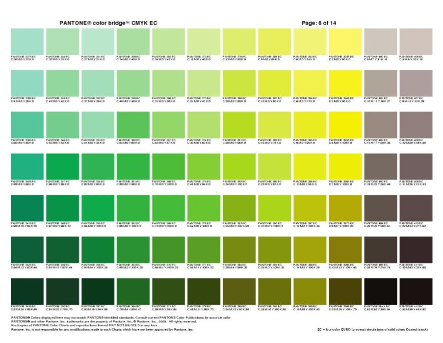 Pantone Color Bridge 1 Green Yellow Pantone Colour Chart In