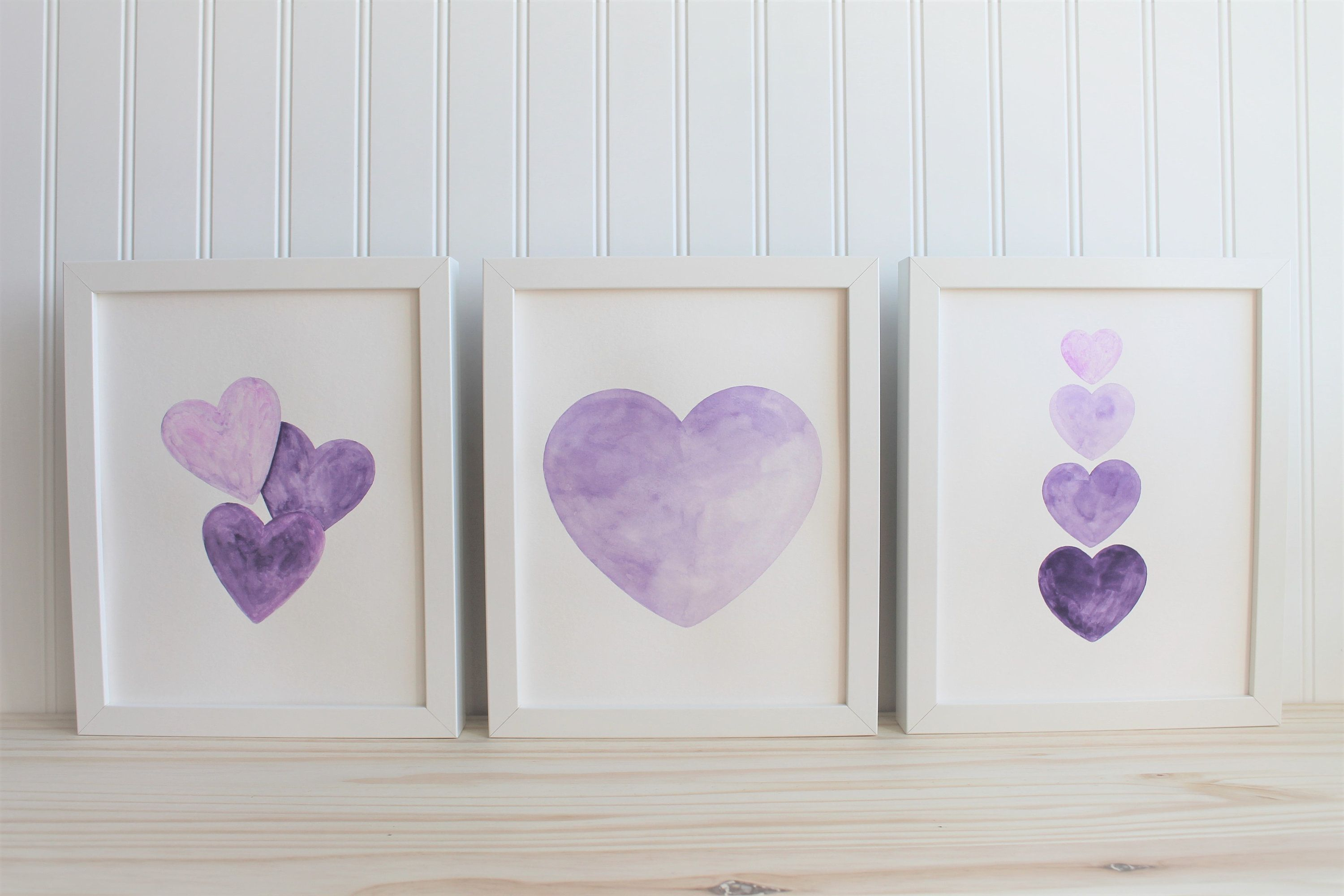 8x10 Purple Heart Watercolor Heart Purple Nursery Decor Etsy In 2020 Purple Girls Room Purple Room Decor Purple Nursery Decor